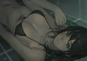 Rating: Safe Score: 70 Tags: bikini_top black_eyes black_hair breasts dark long_hair navel original polychromatic reido_(reido_c) signed User: RyuZU