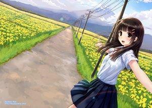Rating: Safe Score: 190 Tags: black_eyes black_hair flowers grass kazuharu_kina original school_uniform skirt watermark User: FormX