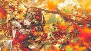 Rating: Safe Score: 31 Tags: autumn breasts brown_hair cleavage headdress japanese_clothes kiyohime_(onmyouji) leaves long_hair mask onmyouji say_hana skull tears tree yellow_eyes User: BattlequeenYume