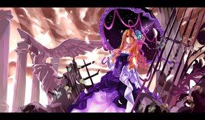 Rating: Safe Score: 89 Tags: blonde_hair butterfly clouds dress gloves karlwolf long_hair petals purple_eyes sky touhou umbrella yakumo_yukari User: opai