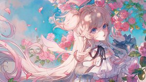 Rating: Safe Score: 64 Tags: amamori_naco angel blanche_fleur blonde_hair blue_eyes braids close clouds crown flowers halo long_hair maccha_(mochancc) petals sky wings User: BattlequeenYume