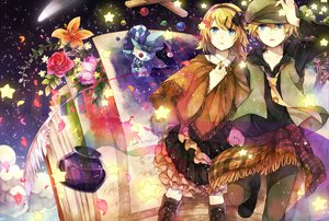 Rating: Safe Score: 64 Tags: book clouds doll feathers flowers hana_(mew) hat kagamine_len kagamine_rin male petals puppet stars tie vocaloid User: FormX