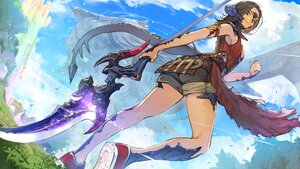Rating: Safe Score: 51 Tags: au_ra brown_hair final_fantasy final_fantasy_xiv hide_(hideout) horns red_eyes short_hair shorts tail weapon User: SciFi