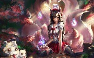 Rating: Safe Score: 55 Tags: ahri_(league_of_legends) brown_hair foxgirl indiron league_of_legends magic User: humanpinka