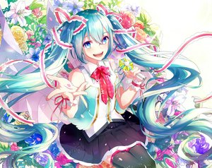 Rating: Safe Score: 38 Tags: aqua_eyes aqua_hair flowers gari_(apollonica) hatsune_miku long_hair ribbons rose skirt thighhighs twintails vocaloid User: BattlequeenYume