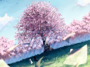 Rating: Safe Score: 105 Tags: brown_hair cherry_blossoms clouds flowers grass landscape paper scenic school_uniform short_hair sky User: Maboroshi