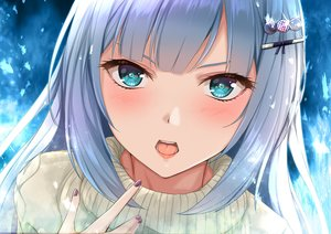 Rating: Safe Score: 55 Tags: aqua_eyes blush close gray_hair idolmaster idolmaster_shiny_colors long_hair shiraishi_tsumugi yuzuyu_(hyui) User: RyuZU