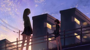 Rating: Safe Score: 39 Tags: 2girls black_hair building clouds kagumanikusu long_hair original school_uniform short_hair skirt sky User: RyuZU