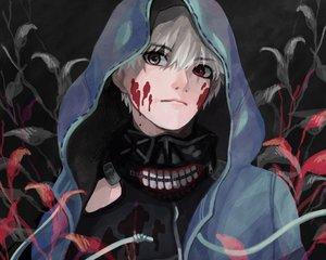 Rating: Safe Score: 184 Tags: all_male bicolored_eyes cropped hoodie kaneki_ken male mask petitster short_hair tokyo_ghoul white_hair User: mattiasc02
