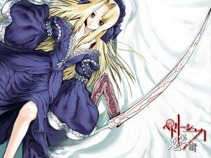Rating: Safe Score: 30 Tags: blonde_hair green_eyes kikokugai lolita_fashion nitroplus petrushka_(kikokugai) sword weapon white User: Oyashiro-sama