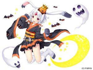 Rating: Safe Score: 34 Tags: animal animal_ears bat blush bow bunny_ears bunnygirl crown flat_chest halloween headdress japanese_clothes monmusu_harem moon namaru_(summer_dandy) pumpkin red_eyes rurie_(monmusu_harem) short_hair stars white white_hair yukata User: otaku_emmy