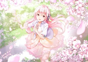 Rating: Safe Score: 62 Tags: cherry_blossoms dress flowers long_hair original pink_eyes pink_hair signed tagme_(artist) User: BattlequeenYume