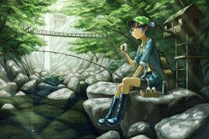 Rating: Safe Score: 147 Tags: animal blue_eyes blue_hair boots fish food forest hat jpeg_artifacts kawashiro_nitori kurione_(zassou) navel short_hair shorts touhou tree water waterfall User: gnarf1975