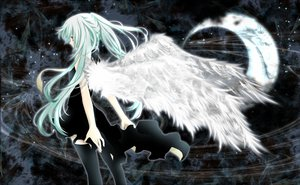 Rating: Safe Score: 73 Tags: aonoe aqua_eyes aqua_hair dress hatsune_miku moon thighhighs twintails vocaloid wings User: HawthorneKitty