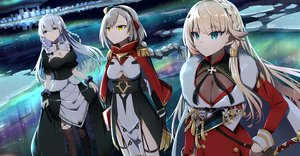 Rating: Safe Score: 64 Tags: anthropomorphism aqua_eyes azur_lane braids breasts building cleavage dress eagle_(azur_lane) gochou_(atemonai_heya) gray_eyes headdress hermione_(azur_lane) howe_(azur_lane) long_hair maid night reflection short_hair snow stars thighhighs water white_hair yellow_eyes User: mattiasc02