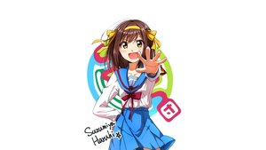 Rating: Safe Score: 35 Tags: blush brown_hair headband ribbons school_uniform skirt suzumiya_haruhi suzumiya_haruhi_no_yuutsu tagme_(artist) white yellow_eyes User: masterP