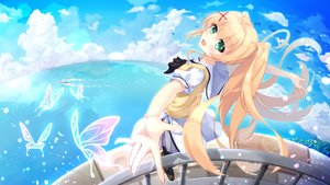 Rating: Safe Score: 40 Tags: aliasing blonde_hair blush butterfly clouds green_eyes long_hair skirt sky summer_pockets tagme_(artist) tsumugi_wenders twintails water User: BattlequeenYume