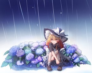 Rating: Safe Score: 25 Tags: blonde_hair blush bow braids dress flowers hat kirisame_marisa long_hair rain socks tagme_(artist) touhou water witch witch_hat User: RyuZU
