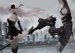 Rating: Safe Score: 93 Tags: boots building choker city dress erospanda gothic long_hair original red_eyes scythe signed sky water weapon white_hair User: BattlequeenYume