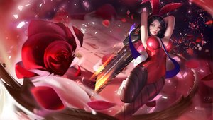 Rating: Safe Score: 83 Tags: animal_ears black_hair bunny_ears bunnygirl flowers red rose sword weapon yueyue User: FormX