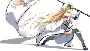 Rating: Safe Score: 133 Tags: armor blonde_hair blue_eyes chain elbow_gloves fate_(series) fate/stay_night gloves headdress hirame_sa jeanne_d'arc_(fate) long_hair sideboob thighhighs white User: luckyluna