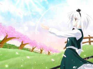 Rating: Safe Score: 26 Tags: enhance_heart katana konpaku_youmu petals rokuwata_tomoe sword touhou weapon User: Oyashiro-sama