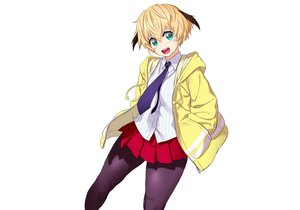 Rating: Safe Score: 20 Tags: blonde_hair green_eyes hoodie onsoku_inu original pantyhose school_uniform short_hair skirt tie white User: otaku_emmy