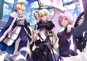 Rating: Safe Score: 65 Tags: animal bird blonde_hair bodysuit braids breasts cape chain clouds crown dress elbow_gloves fate/grand_order fate_(series) feathers gloves green_eyes jeanne_d'arc_(fate) long_hair matthew_kyrielite pink_hair ponytail purple_eyes saber short_hair skintight sky tagme_(artist) thighhighs User: RyuZU