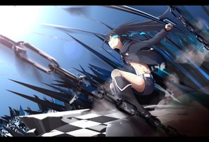 Rating: Safe Score: 121 Tags: black_hair black_rock_shooter blue_eyes boots chain hazfirst kneehighs kuroi_mato long_hair shorts sword twintails weapon User: Flandre93