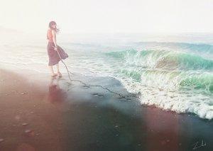 Rating: Safe Score: 34 Tags: barefoot beach long_hair original scenic signed skirt tamaki_(tamaki_illust) water wristwear User: FormX