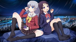 Rating: Safe Score: 44 Tags: 2girls black_hair blue_eyes bow charlotte edogawakid headphones kneehighs long_hair otosaka_ayumi phone ponytail purple_eyes school_uniform skirt sky spread_legs tomori_nao white_hair User: RyuZU