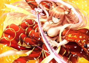 Rating: Safe Score: 78 Tags: animal_ears blonde_hair blush breasts cleavage fate/extra_ccc fate/extra_ccc_fox_tail fate/grand_order fate_(series) foxgirl katana long_hair necklace saber saber_(fate/extra_ccc_fox_tail) suien sword tail weapon yellow_eyes User: luckyluna
