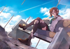 Rating: Safe Score: 213 Tags: aircraft blue_eyes brown_hair clouds glasses headband makinami_mari_illustrious nardack neon_genesis_evangelion ruins school_uniform signed skirt sky thighhighs tie torn_clothes zettai_ryouiki User: MidBoss