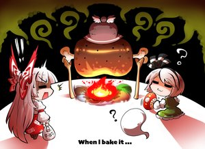 Rating: Safe Score: 8 Tags: bow cat_smile fan fire food fujiwara_no_mokou hat headband kashuu_(b-q) konpaku_youmu long_hair myon mystia_lorelei short_hair skirt touhou white_hair User: otaku_emmy