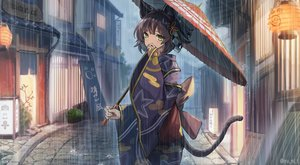 Rating: Safe Score: 76 Tags: animal_ears blush brown_hair building catgirl green_eyes japanese_clothes original rain short_hair tail umbrella water watermark yukata yu_ni_t User: SciFi