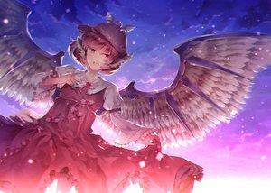 Rating: Safe Score: 45 Tags: clouds dress mystia_lorelei pink_hair short_hair sky sunakumo touhou wings User: RyuZU