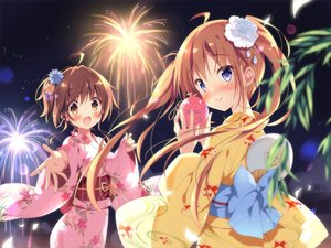 Rating: Safe Score: 57 Tags: 2girls blue_eyes blush bow brown_eyes brown_hair fan fireworks haruka-chan_(pan) japanese_clothes long_hair night original pan_(mimi) ponytail short_hair sky stars summer twintails yukata User: BattlequeenYume