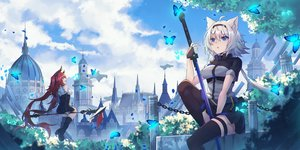 Rating: Safe Score: 42 Tags: 2girls animal_ears ashisi building butterfly clouds mage original red_eyes red_hair sky sword weapon User: BattlequeenYume