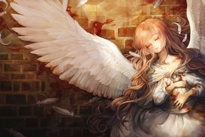 Rating: Safe Score: 201 Tags: aka_tonbo_(lovetow) angel blood brown_hair dress feathers long_hair original wings User: FormX
