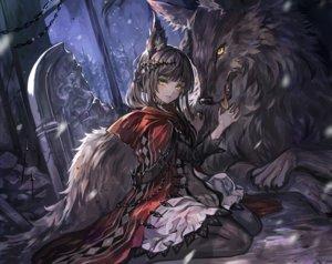 Rating: Safe Score: 59 Tags: animal animal_ears black_hair cropped dress forest hoodie long_hair night original pantyhose ruins senano-yu tree wolf wolfgirl yellow_eyes User: BattlequeenYume