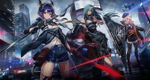 Rating: Safe Score: 82 Tags: animal_ears arknights blonde_hair braids brown_eyes building car ch'en_(arknights) city garter_belt gloves green_hair hat horns hoshiguma_(arknights) long_hair motorcycle ponytail purple_hair red_eyes shorts swav swire_(arknights) sword weapon User: sadodere-chan