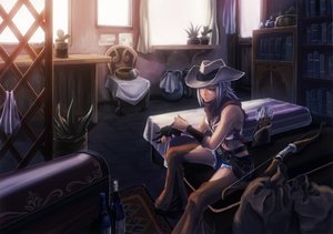 Rating: Safe Score: 115 Tags: book bow_(weapon) breasts cleavage cowgirl drink gloves hat original purple_eyes purple_hair scarf short_hair weapon User: Dust