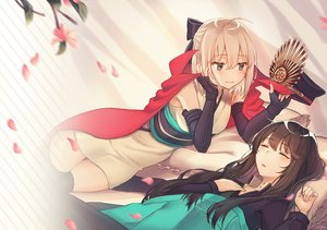 Rating: Safe Score: 58 Tags: 2girls bed blonde_hair brown_eyes brown_hair cape elbow_gloves fate/grand_order fate_(series) gloves hat japanese_clothes long_hair nobunaga_oda_(fate) okita_souji_(fate) petals ran9u short_hair sleeping User: sadodere-chan