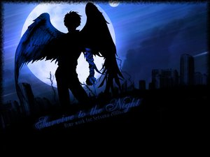 Rating: Safe Score: 10 Tags: angel_sanctuary bandage moon silhouette wings User: Oyashiro-sama