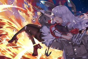 Rating: Safe Score: 120 Tags: aliasing anthropomorphism fire gloves kantai_collection long_hair murakumo_(kancolle) pantyhose pc9527 sunset torn_clothes wink User: Flandre93