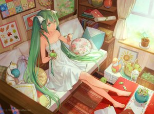 Rating: Safe Score: 162 Tags: animal apple barefoot book braids candy cat cotta dress food fruit green_eyes green_hair hatsune_miku ice_cream long_hair ribbons summer_dress twintails vocaloid watermark User: Flandre93