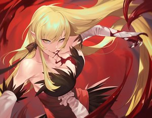 Rating: Safe Score: 72 Tags: bakemonogatari blonde_hair blood breasts cleavage dress elbow_gloves gloves kissshot_acerolaorion_heartunderblade long_hair monogatari_(series) oshino_shinobu pointed_ears ssangbong-llama vampire User: Fepple