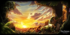 Rating: Safe Score: 120 Tags: all_male boots clouds grass guitar instrument itkz_(pixiv) male original pixiv_fantasia ruins scenic short_hair sky sunset white_hair User: FormX