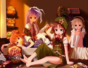 Rating: Safe Score: 45 Tags: animal_ears barefoot blue_hair braids brown_hair bunny_ears bunnygirl coca_cola dragonite drink food green_eyes group hat headband hong_meiling kneehighs konpaku_youmu long_hair onozuka_komachi pocky pokemon psyduck purple_hair red_eyes reisen_udongein_inaba rowlet short_hair tagme_(artist) touhou User: RyuZU