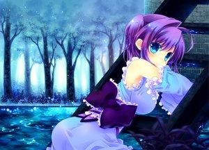 Rating: Safe Score: 123 Tags: blue_eyes bow konno_kengo purple_hair short_hair tree water User: Dust